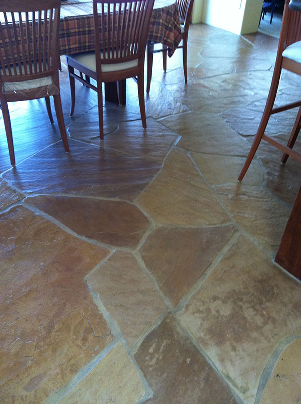 Flagstone AFTER Cleaning Stone And Grout   Job Done In Tucson By AZ Tile  And Grout