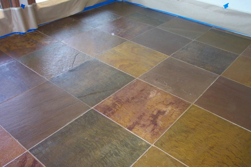 Slate Tile After Cleaning And Sealing Photo Credit