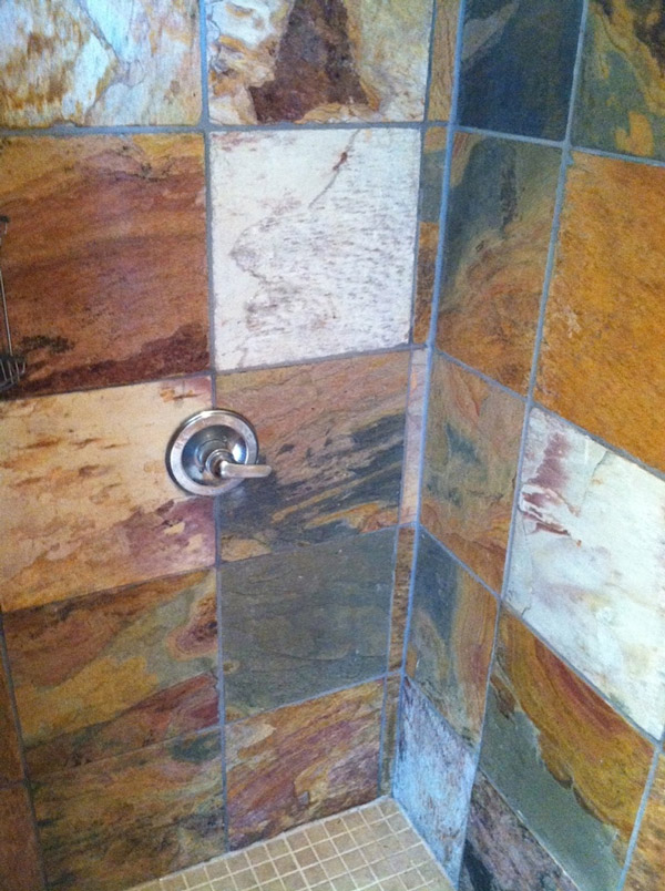 Slate Tile In Shower Stall AFTER Cleaning And Sealing   AZ Tile U0026 Grout  Care Tucson