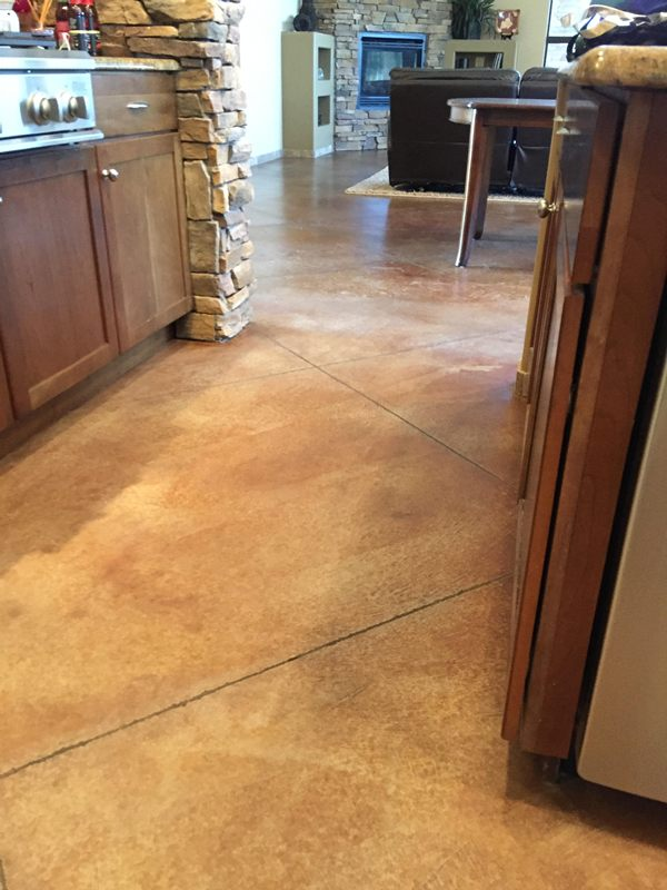 Stained Concrete Floor Before Cleaning Arizona Tile