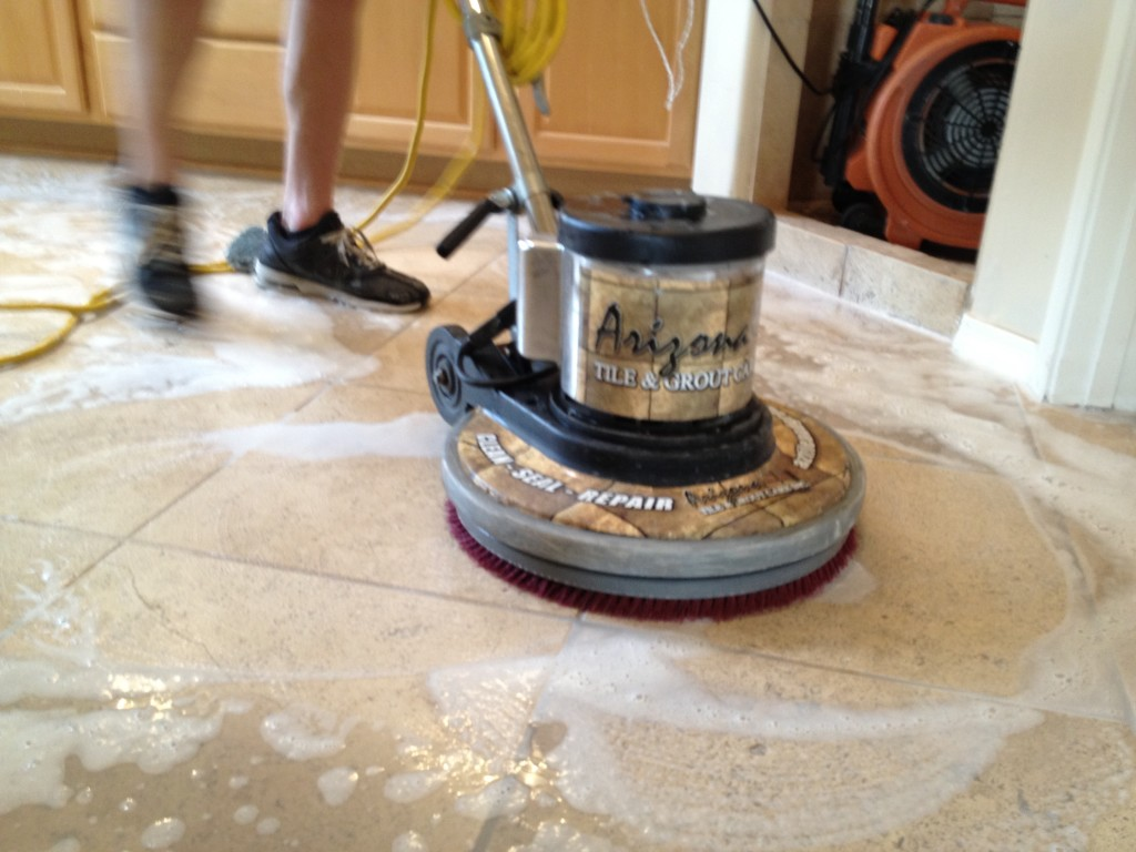 Travertine az tile grout care inc travertine tile cleaning using soft pads photo by az tile and grout care inc dailygadgetfo Choice Image