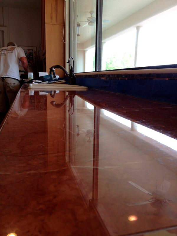 Marble countertop AFTER polishing - Pohoto by Arizona Tile & Grout