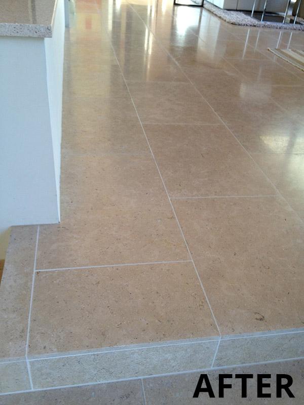 Limestone-floor-tiles-AFTER - AZ Tile & Grout Care Inc